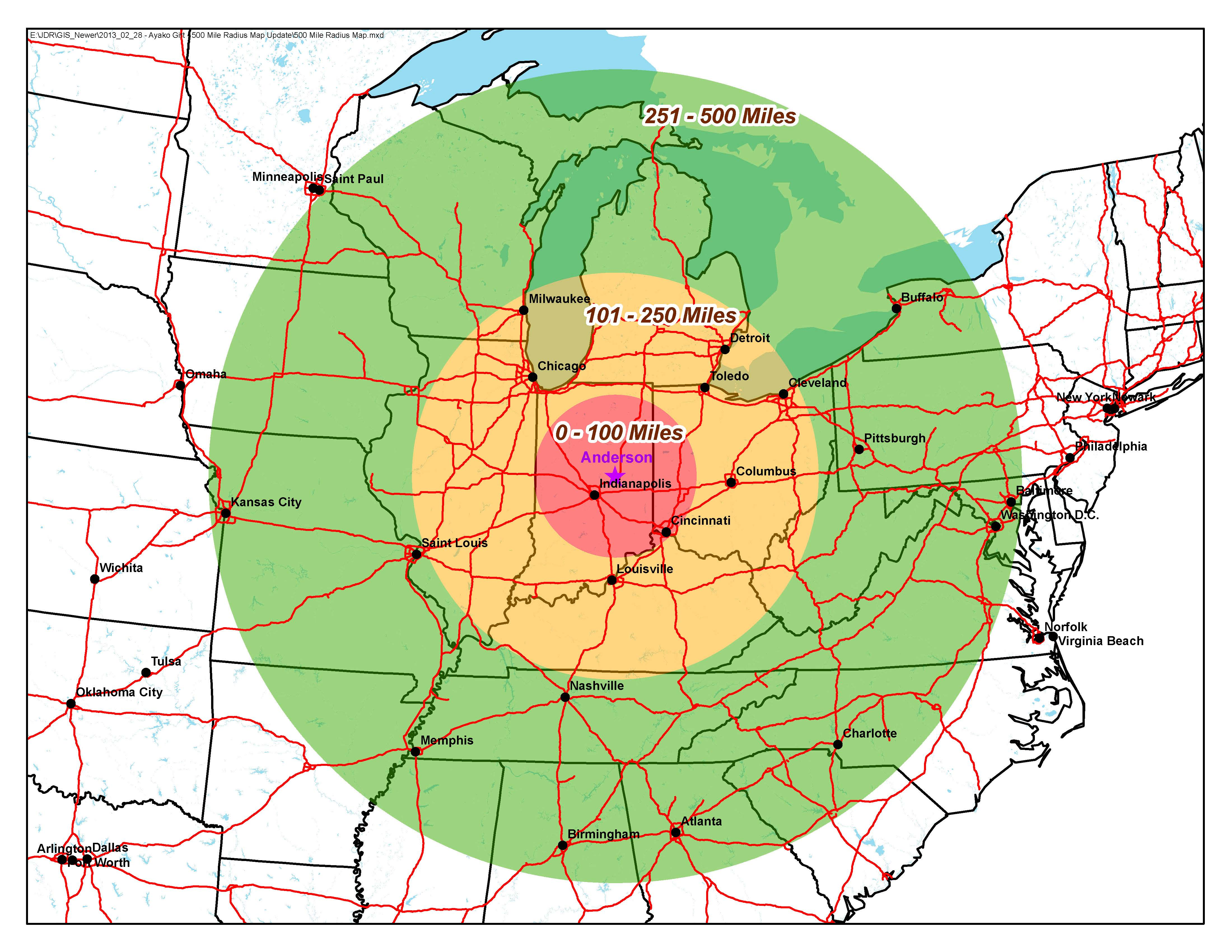 Transportation Radius Map